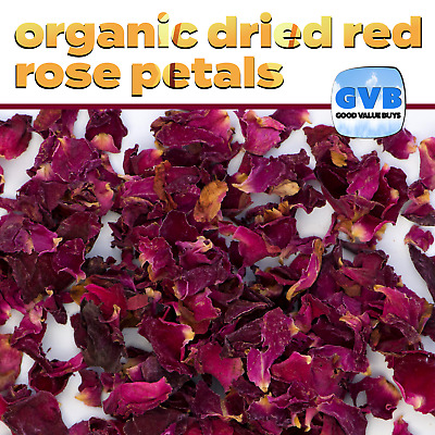 Organic Red Rose Petals 50g Dried Rosa Centifolia 50 grams Free Post | GVB