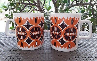 Two 1970's Vintage Retro Staffordshire Potteries Tea Coffee Mugs England