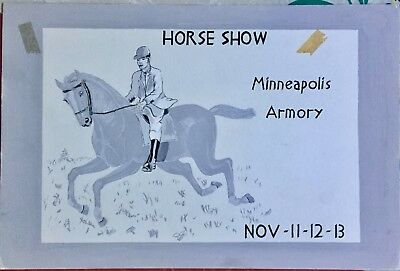 Minneapolis Armory Hand Painted Horse Show Advertisement Art Instructions School