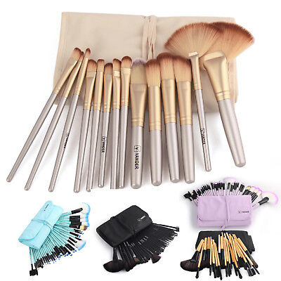 Vander Soft 32Pcs Eyebrow Shadow Cosmetic Makeup Brush Set Kit + Bag Muticolor
