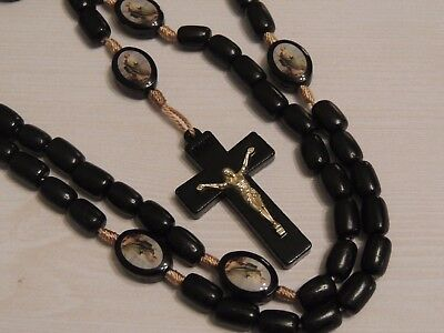 St Jude Rosary Beads - Picture Colour Beads- Blackwood Necklace Crucifix