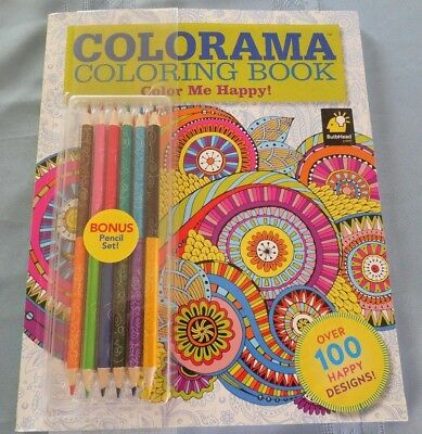 Colorama Color Me Happy Adult Coloring Book With Colored Pencils