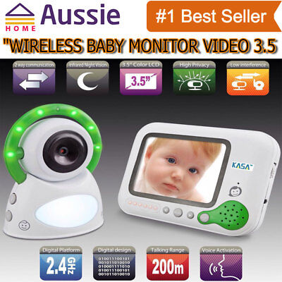 "Wireless Baby Monitor Video 200m Range 3.5"" Screen Secure 2.4GHz New"