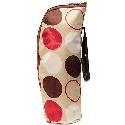 Insulated Baby Bottle Holder Carrier Thermal Bag With Hanging Strap Beige Circle