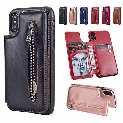 Leather Flip Wallet Card Holder Case Zipper Stand Cover For iPhone X 6 7 8 Plus