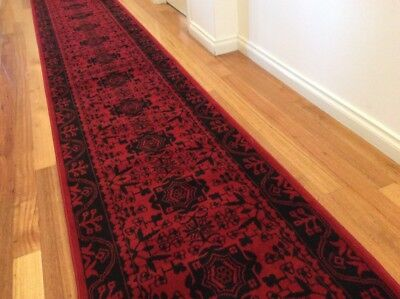 Dalia Red Black Hallway Runner Traditional Hall Runner Rug 4 Metres Long