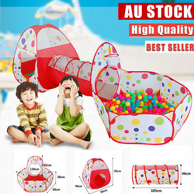 3 In 1 Kids Tent Pipeline Crawling Huge Game Play House Baby Yard Ball Pit Pool