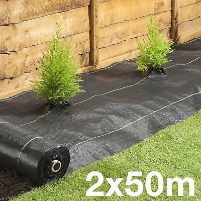 2Mx 50M Ground cover fabric landscape in garden weed control membrane heavy duty