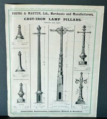 Vintage Architectural Advert ' Young and Marten Stratford 'Lamp Pillars Brackets