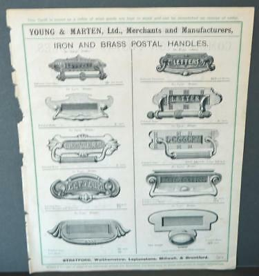 Vintage Architectural Advert ' Young and Marten Stratford 'Metal Postal Handles.