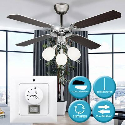Chrome ventilateur de plafond salon mur interrupteur ventilateur lampe radiateur