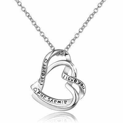 Sterling Silver I LOVE YOU ALWAYS AND FOREVER Heart To Heart Pendant Necklace