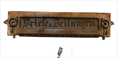 Briefschlitz Briefklappe Brief Einwurf Messing Antik Style Jugendstil Post TLP1A