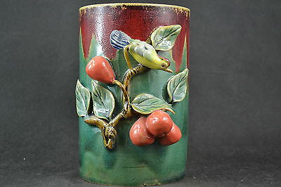 Old Chinese Porcelain Handwork Carving Beauty Birds & Fruit Usable Big Brush Pot