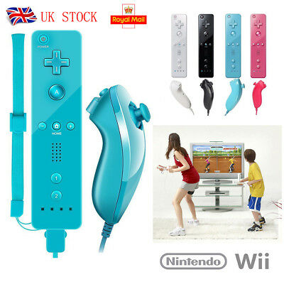 For Fun WII Remote and Nunchuck Controller With Silicone Case Wrist Strap Home