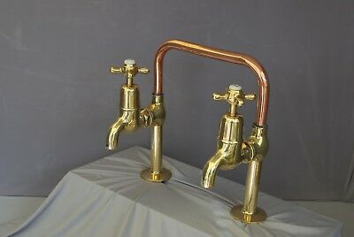 Antique Brass & Copper Deck Mounted Old Taps Ideal Belfast Sink Fully Refurbed