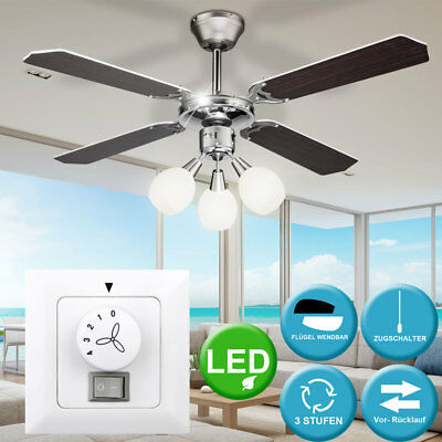 LED plafond ventilateur mural interrupteur salon 3 étapes chrome lampe radiateur
