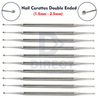 10Pcs Chiropody Toe Nail Curettes Dermal Cleaner Cleaning Manicure Podiatry Tool