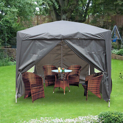 2x2m Pop Up Gazebo Outdoor Marquee Tent with 2 Windbars & 4 Leg Weights Grey