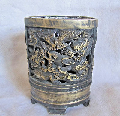 Collection old copper brush pot carved Hollow out 2 dragon