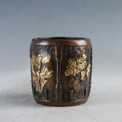 Chinese Exquisite Golden Copper Meilan bamboo chrysanthemum Brush pot