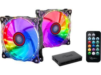 Rosewill RGB Case Fan 2-Pack 120mm Case Fans with 17-Key Remote Control & 8-Port