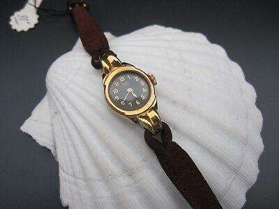 Vintage New old stock Swiss wristwatch ladies watch Gold Plated Black Deal