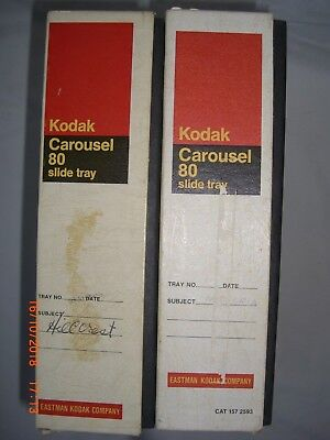 Two Kodak Carousel Transvue 80 Slide Trays with Original Boxes