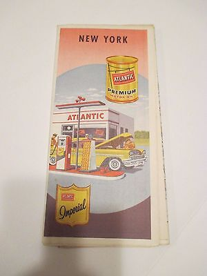Vintage ATLANTIC NEW YORK Oil Gas Service Station Road Map~1950 Census