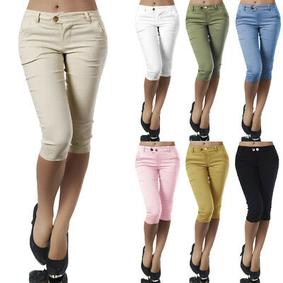AU Womens Summer Skinny Pencil Pants Ladies 3/4 Shorts Stretch Slim Fit Trousers