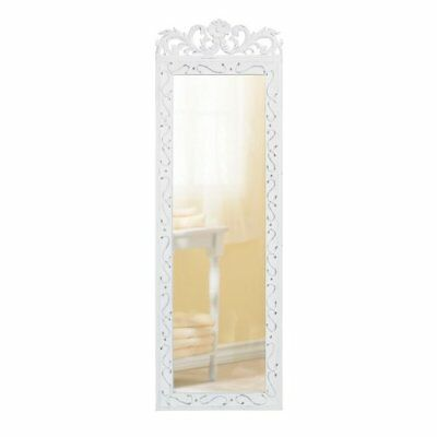 Vintage Long Wall Mounted Mirror Full Length Dressing Mirror Over The Door  White