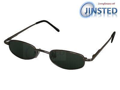 Small High Quality Sunglasses Green Lens Silver Frame Spring Loaded Arms CL030