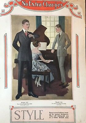 2 Antique Vintage 1918 Men Fashion General Dept Store Display Poster Signs  AAFA