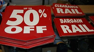 JOB LOT x 70 RETAIL DISPLAY SIGNS 50 % OFF PRICE SIGN LARGE SHOP STORE WAREHOUSE