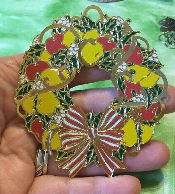 REED & BARTON Painted Gold Plate Wreath ChristMas Ornament Fruit  Pears Grapes