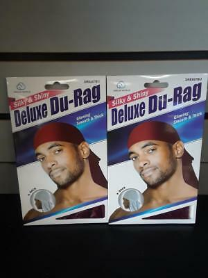 Shiny /& Silky Deluxe Du Rag Durag KT16 Brown /& Grey Smooth /& Thick Set of 2