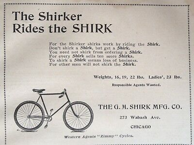 1895 Ad(28)~The G.m. Shirk Mfg. Co. Chicago. Shirk Bicycle