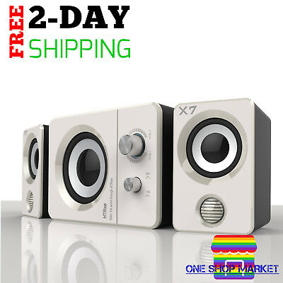 Multimedia Stereo Speaker Sound System Computer PC Laptop Desktop White Speakers