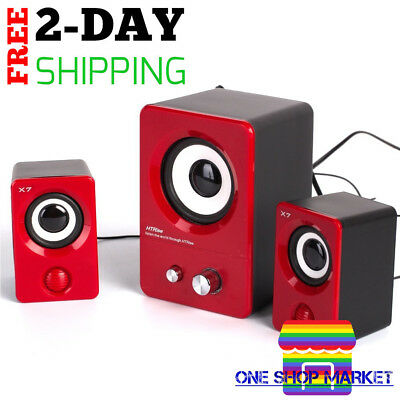 Multimedia Stereo Speaker Sound System Computer PC Laptop Desktop Red Speakers