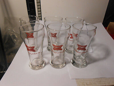 6 X Miller High Life Beer Sham Pilsner Glass Logo CHAMPAGNE OF BOTTLE BEER SET