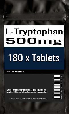 180 x L-Tryptophan 500mg VEGAN SEROTONIN SLEEP AID RELAX With Ajinomoto TryptoPu