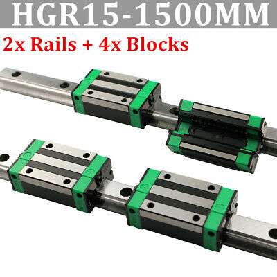 2X HGR15 Linear Guide Rail 1500mm & 2Pcs HGH15CA Carriage US Shipping