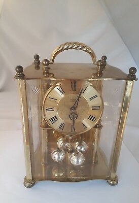 Vintage Acctim Brass & Glass Battery Operated MANTLE/ANNIVERSARY clock