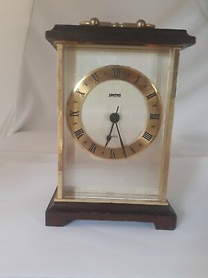 Vintage Smiths Brass + Wood Battery Carriage/Mantel Clock   Working