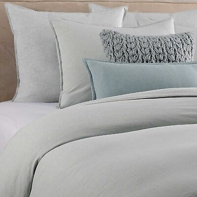 Kenneth Cole Home Yarn Dyed Mineral Full/Queen DUVET Cover SEAGLASS BLUE GREEN