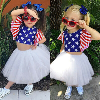 Toddler Baby Kids Girls 4th Of July Striped Stars Tops Tutu Skirt Outfits Set SX