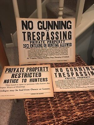 Vintage Set Of 3 No Hunting Trespassing Cardboard Signs 1940s 1950s