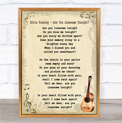 Are You Lonesome Tonight Song Lyric Vintage Quote Print