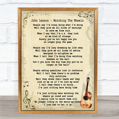 Watching The Wheels Song Lyric Vintage Quote Print