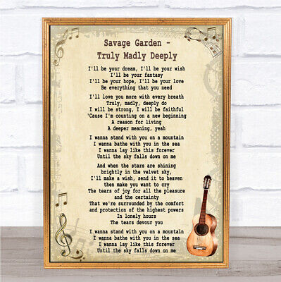 Truly madly Deeply Song Lyric Vintage Quote Print